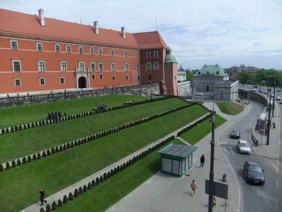 Varsovie, ville, herbe, vert, immeuble