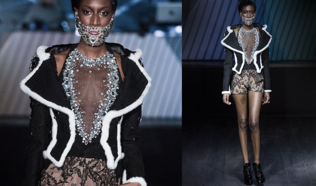 haute couture fashion week paris  brodery model barbe en cristal,short ,neoprene yassen samouilov livia stoianova