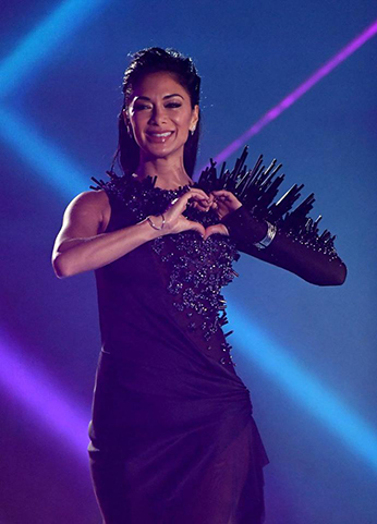 Nicole Scherzinger wearing dress by ON AURA TOUT VU X Factor1