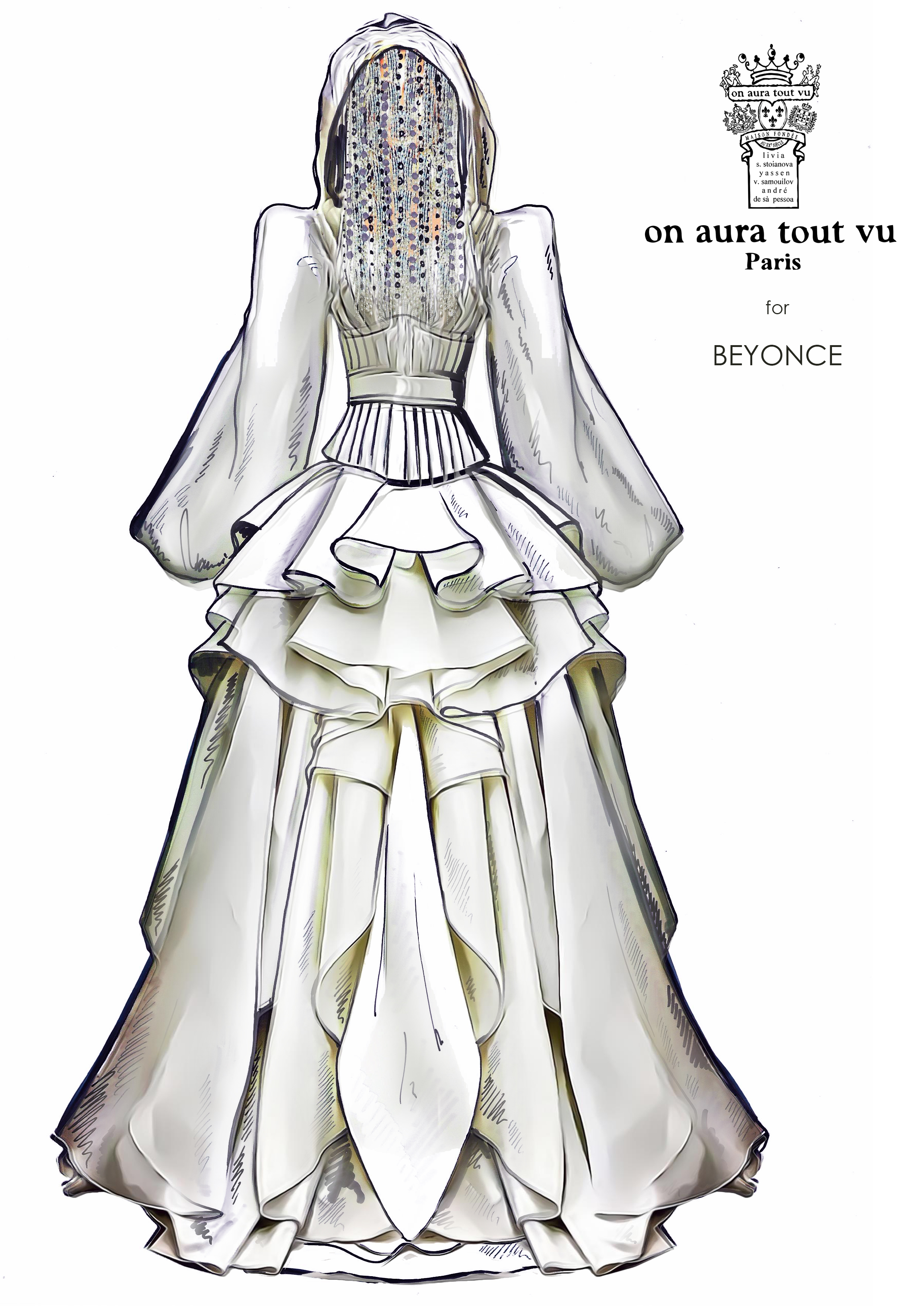 sketch for beyonce dress by on aura tout vu couture