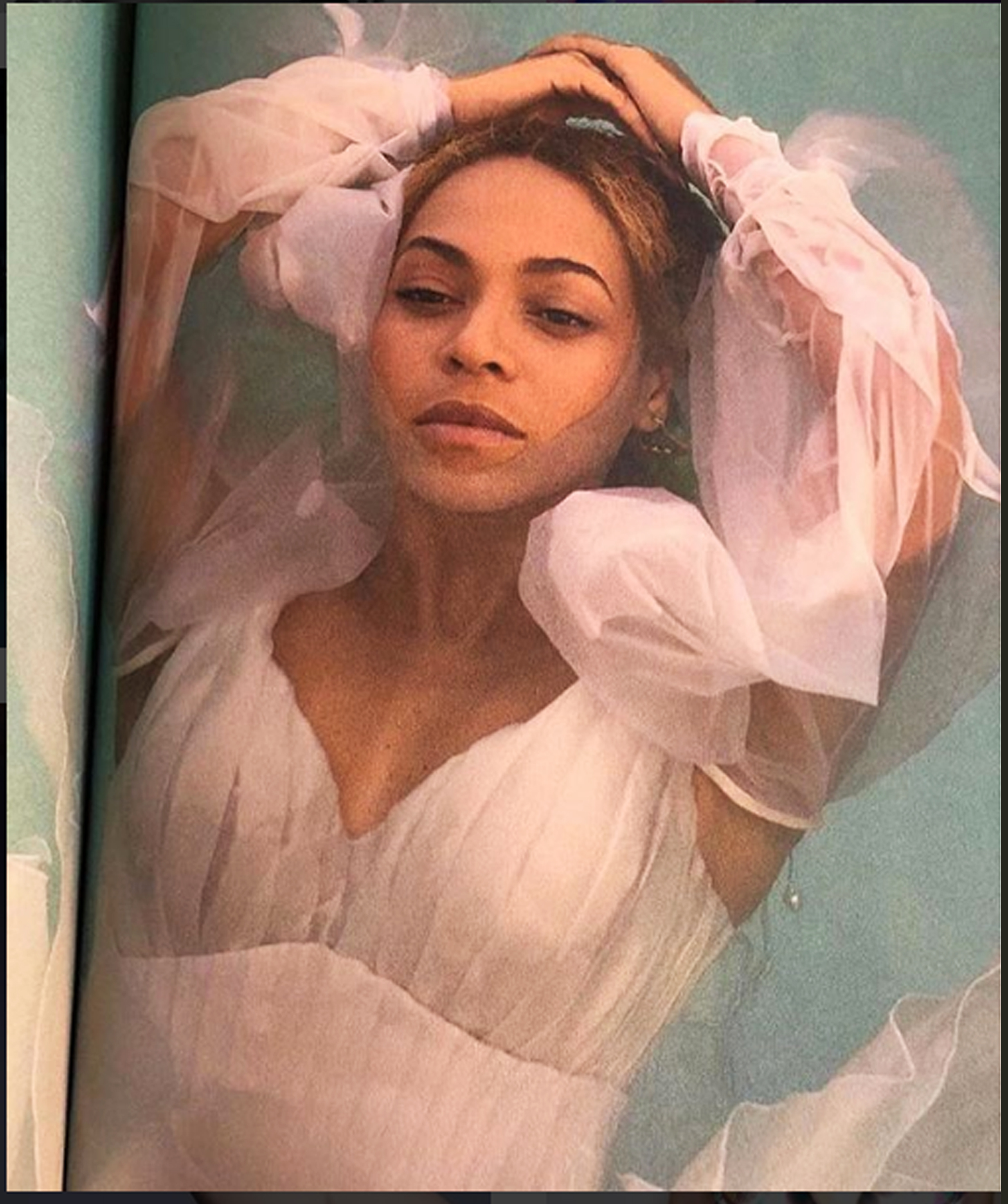 beyonce wearing white custom made couture dress by on aura tout vu for OTRII