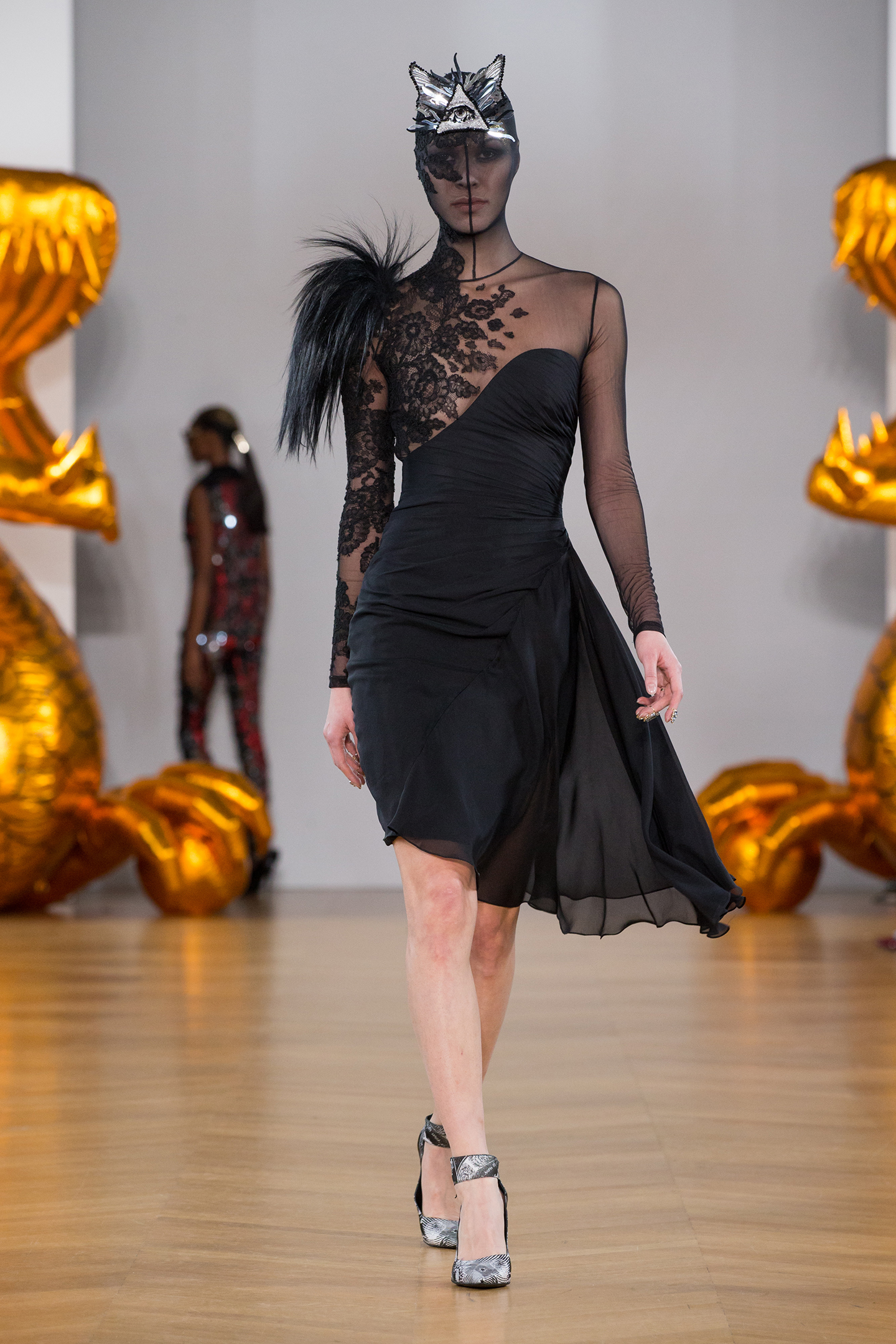 black chiffon and tulle dress black lace by on aura tout vu