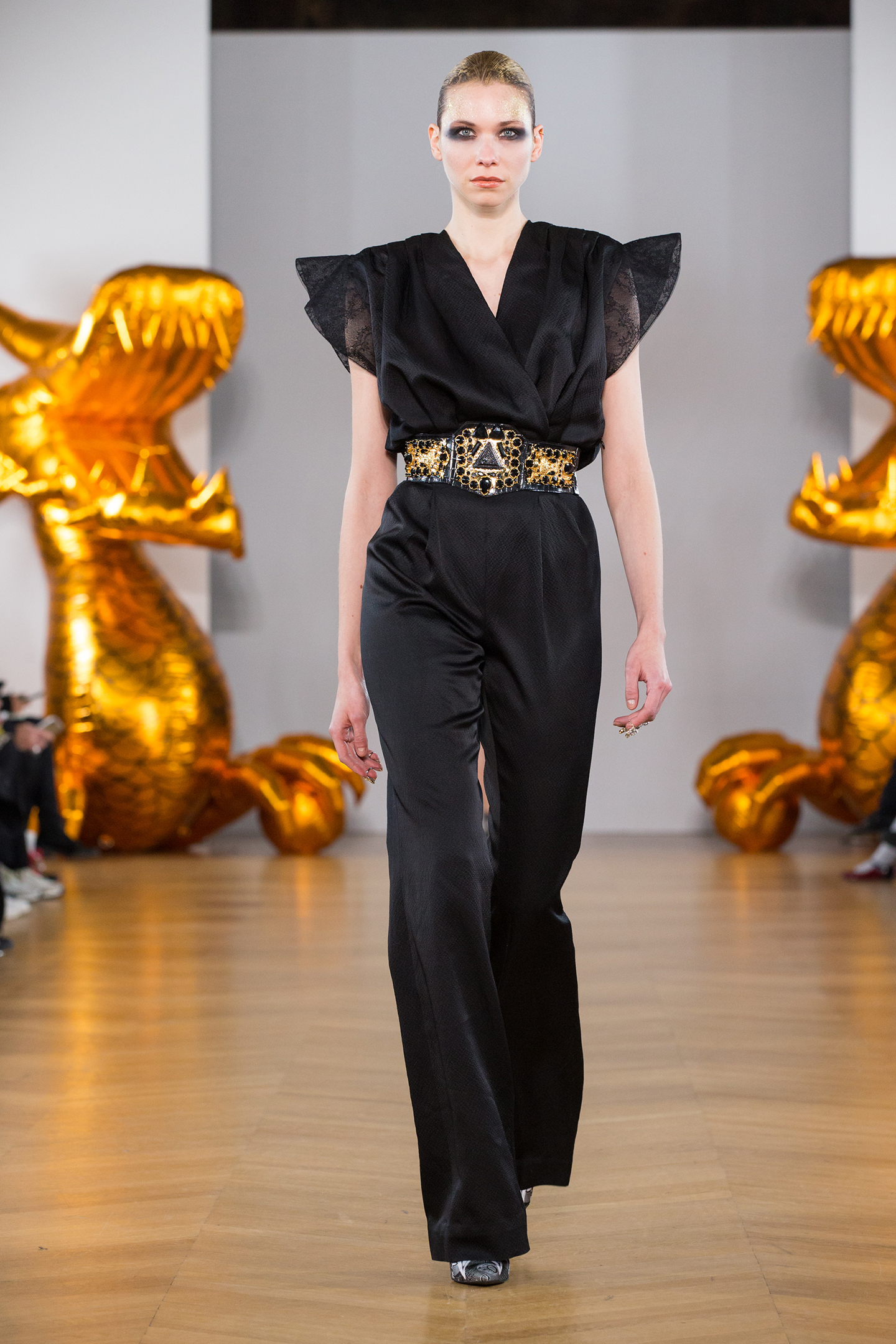 black silk encemble by on aura tout vu gold belt
