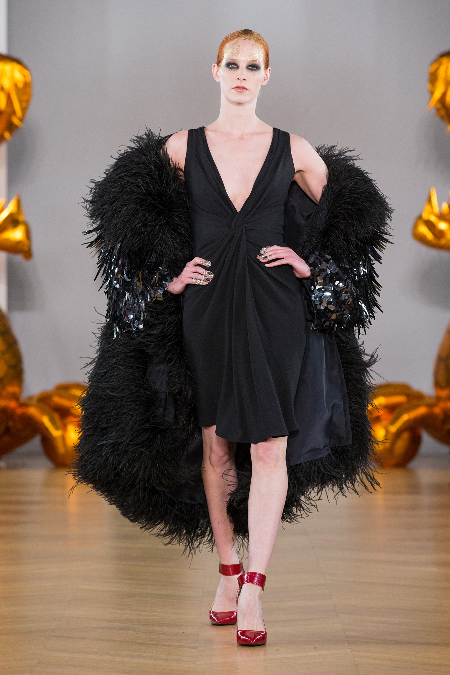 black silk dress and feathers coat by on aura tout vu