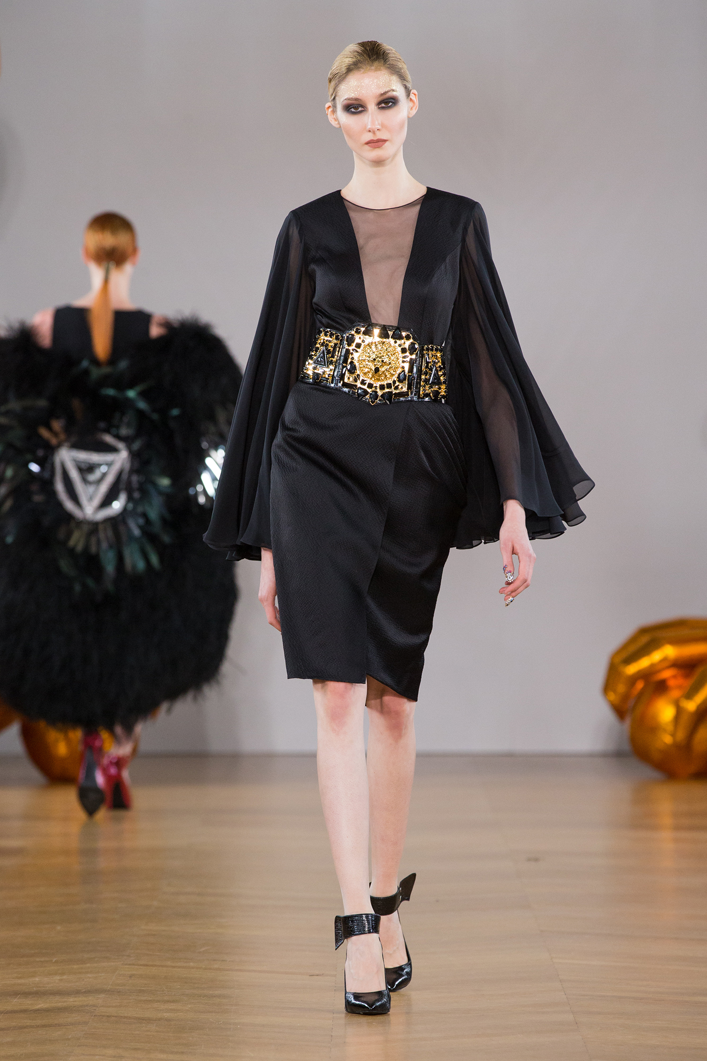 black dress japan silk gold crystal dress by on aura tout vu