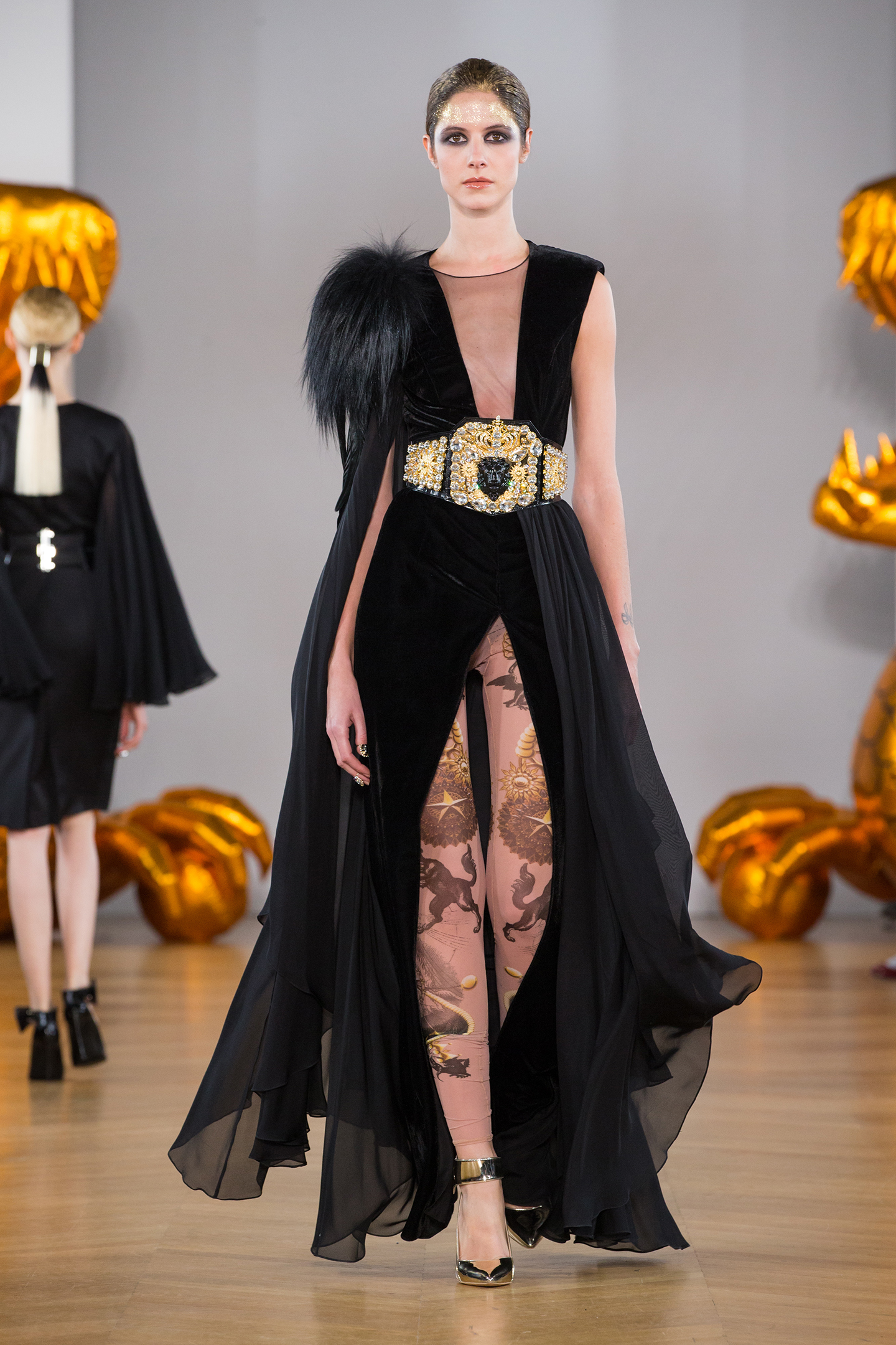 Black chiffon and velvet dress by on aura tout vu