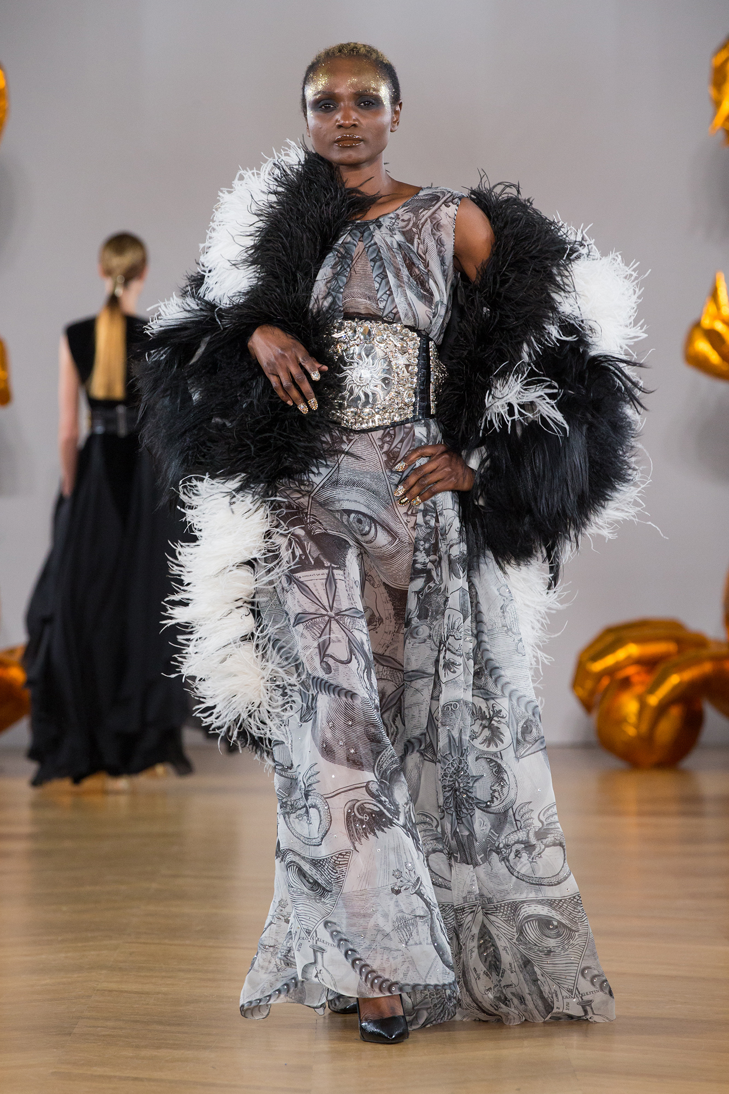 organza black and white print dress crystal belt and feathers and fur coat by on aura tout vu