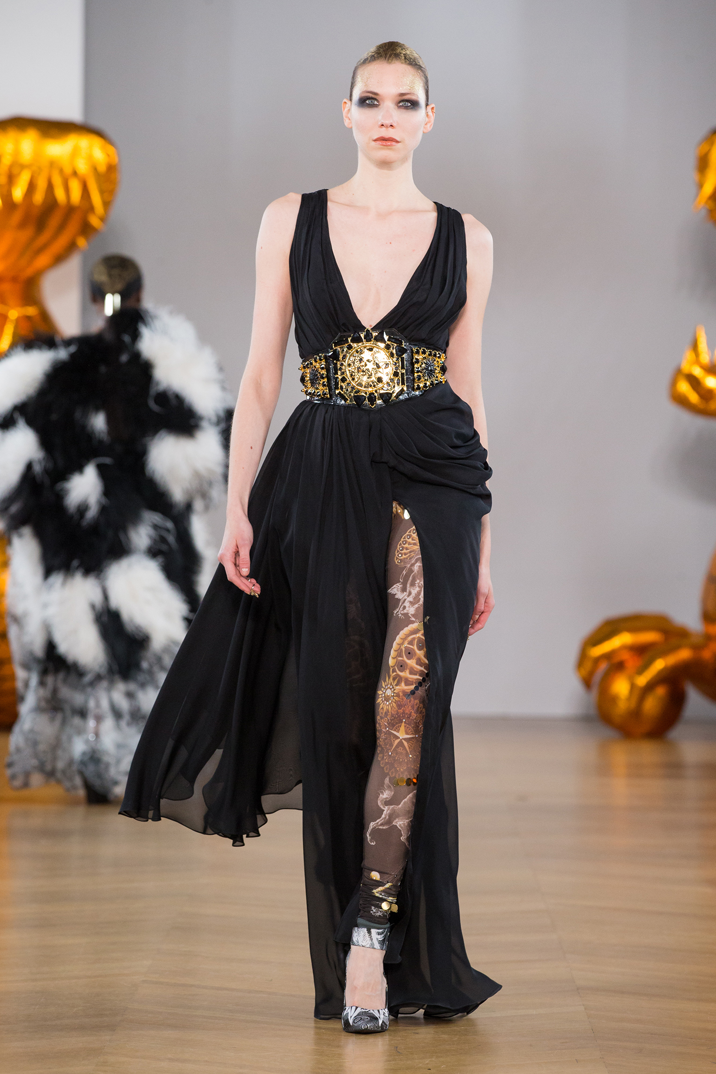 black silk shiffon dress by on aura tout vu