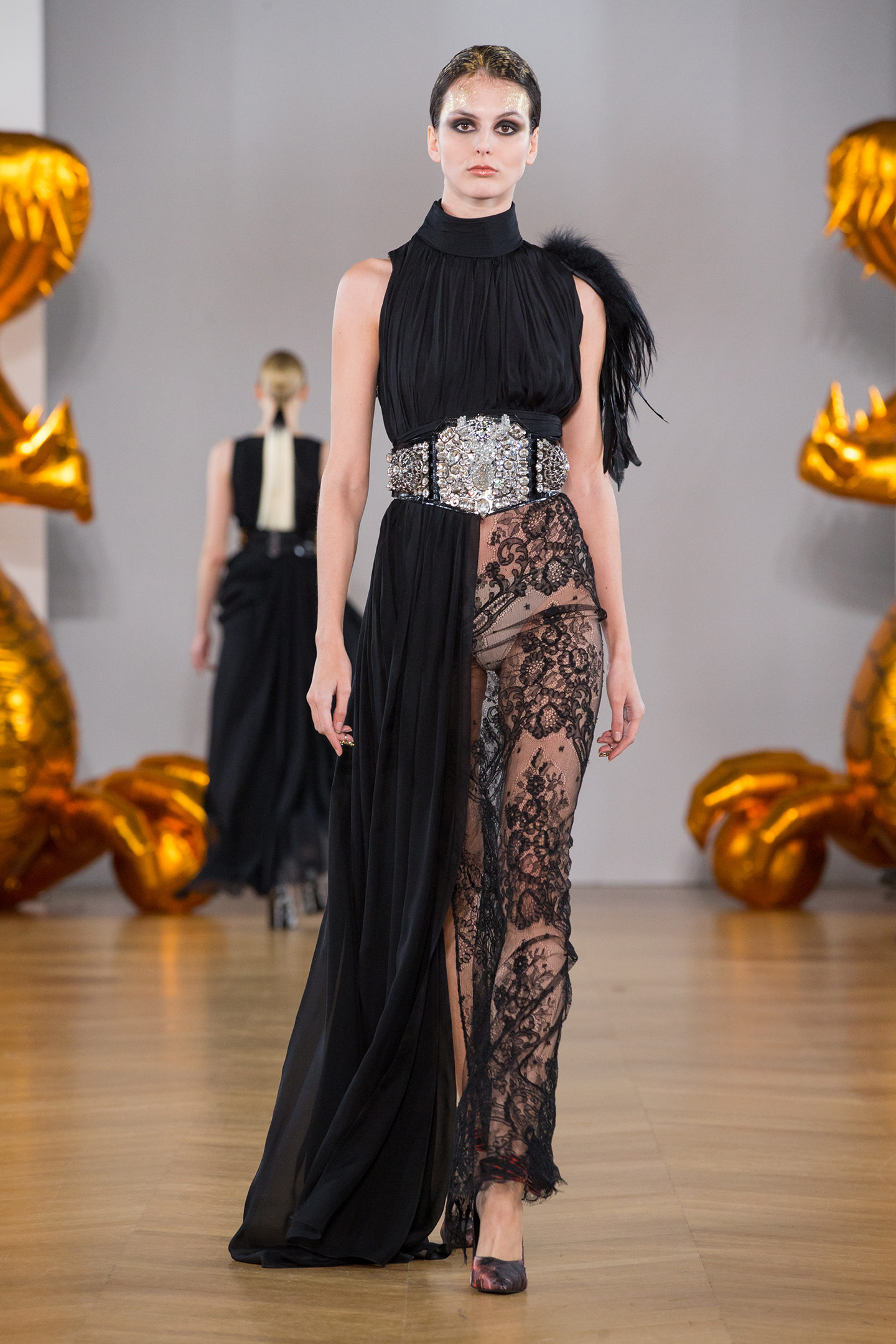 black chiffon silk and lace dress by on aura tout vu