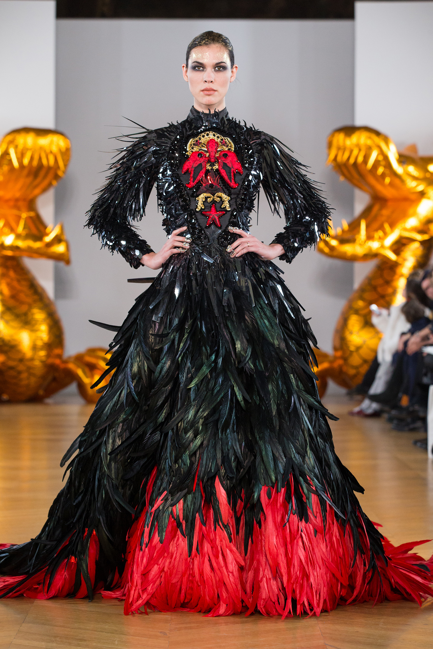 black and red feathers dark dress by on aura tout vu