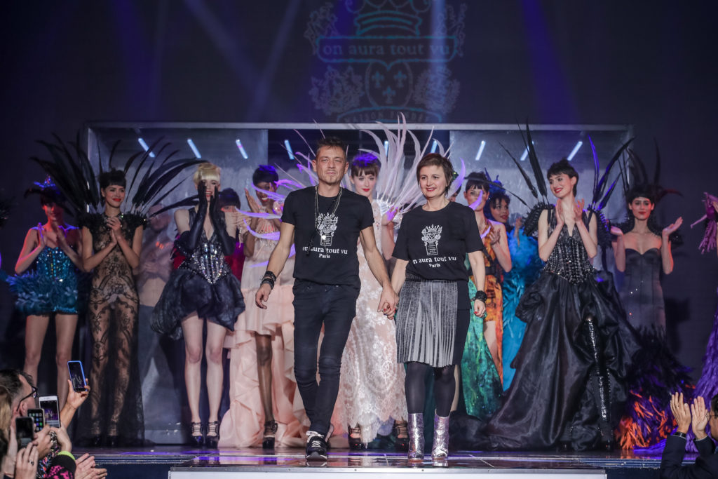 The designers of On Aura Tout Vu at the end of the show spring summer 2020 paris France at Paradis Latin