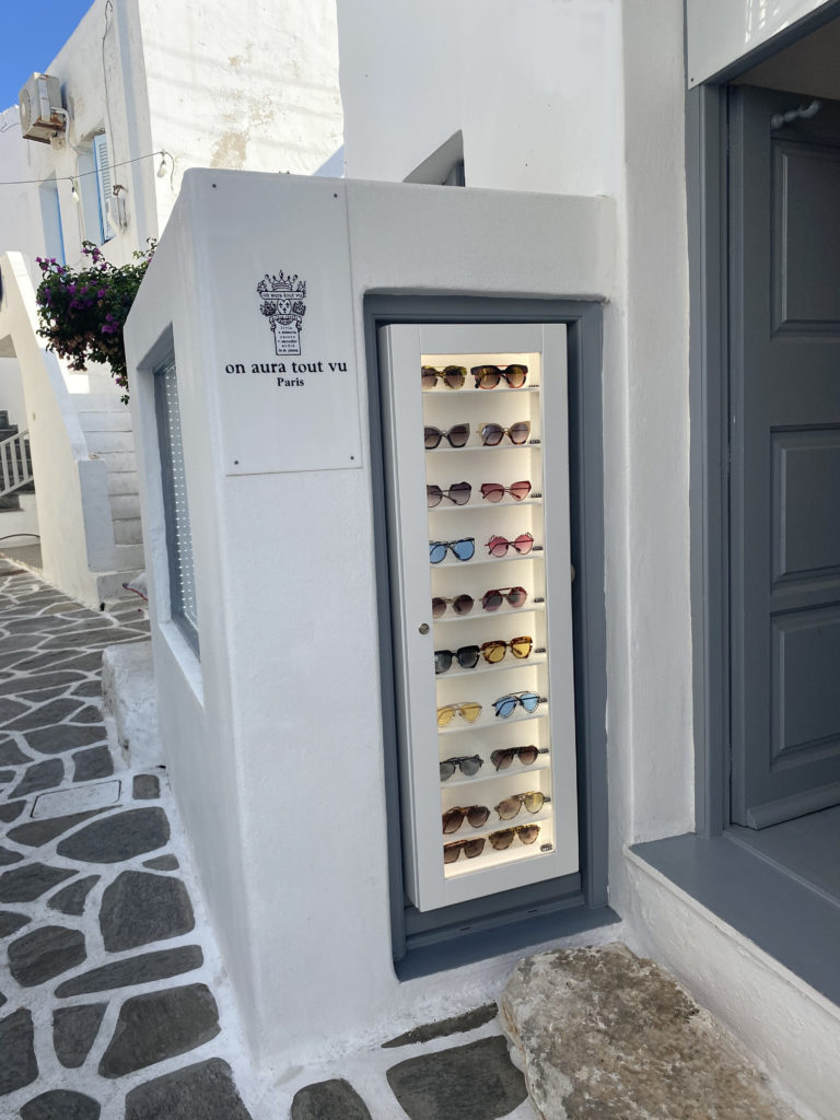eyewear collection On Aura Tout Vu store in Paros Naoussa Cyclades Greece